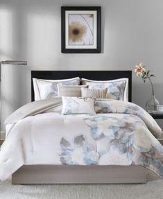 Cabin 100 Cotton Top Birds Khaki Blue Floral Comforter 7 Pcs Set