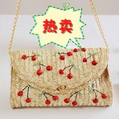 Barato Princesa lolita doce saco 3 do telefone móvel kk bolsa de palha vivi bordado tridimensional cereja saco do mensageiro, Compro Qualidade   diretamente de fornecedores da China:   Detalhes do produto