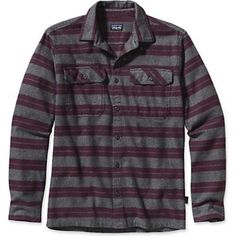 Patagonia Mens Fjord Flannel Shirt in Blanket Stripe: Feather Grey.