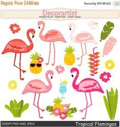 ON SALE Tropical flamingo clipart Flamingo clipart Pink Flamingo Png, Flamingo Clip Art, Flamingo Craft, Flamingo Nails, Flamingo Party, Pink Flamingos, Tiki Party, Festa Party, July Birthday