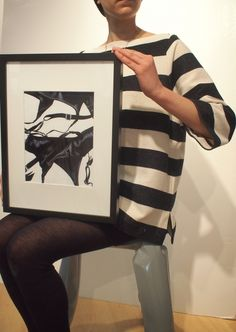 Ink on canvas board by Vandor & shirt by Hatch on Patricia. / Fashion Monday by Art Interiors / Toronto Art Gallery