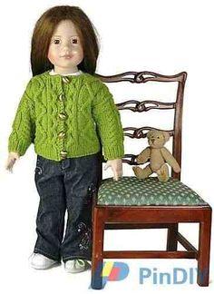 "Berroco-Doll Aran Cardigan for 18""inch Doll by Brenda York-Free-Knitting and Crochet Communication-Knitting Patterns-PinDIY -"