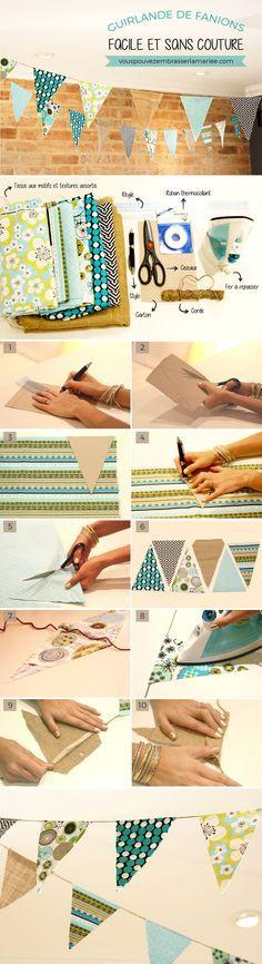 Wow ! Une guirlande de fanions DIY facile et sans couture, toute simple à réaliser et vraiment jolie !