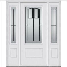 Milliken Millwork 68.5 in. x 81.75 in. Madison Decorative Glass 3/4 Lite Painted Fiberglass Smooth Exterior Door with Sidelites, Brilliant White