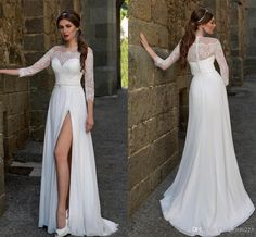 Vintage Long Sleeve Beach Wedding Dresses 2016 Sexy Front Split Bohemian Wedding Gowns A Line White Lace Chiffon Bridal Gowns Wedding Dresses For Hire Wedding Dresses On Sale From Angelia0223, $207.12| Dhgate.Com