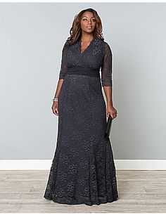 $228 - Effortless beauty meets classic style with our Screen Siren Lace Gown. Designed with all-over stretch, this elegant fit and flare gown will flatter and accentuate your beautiful curves. A ruched waistband in a contrasting fabric pulls the eye inward to the smallest part of your body and a scalloped neckline and sleeves add that special detailing. sonsi.com