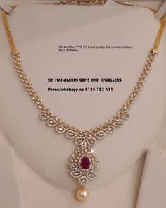 Pretty Gold Necklace From Mahalakshmi Gems And Jewellers ~ South India Jewels Source by Jewelry Diamond Necklace Simple, Gold Jewelry Simple, Gold Necklace, Indian Diamond Necklace, Dimond Necklace, Simple Necklace Designs, Diamond Jewelry, Diamond Choker, Diamond Pendant Necklace