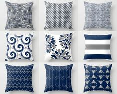 Throw Pillow Cover, Pillow Covers, Navy White Grey, Accent Pillows, Cu – HLB Home Designs Navy Living Rooms, Coastal Living Rooms, Living Room Decor, Navy Blue And Grey Living Room, Navy White Bedrooms, Dining Room, Pillow Cover Design, Decorative Pillow Covers, Throw Pillow Covers