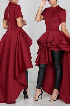 High Collar Irregular Hem Dress in 2019 African Fashion Dresses, African Dress, Chic Outfits, Fashion Outfits, Looks Chic, Perfect Prom Dress, High Collar, Ladies Dress Design, Look Fashion