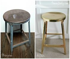 Check out this old metal stool makeover: from men's workshop to industrial glam! Interior, Redo Furniture, Refurbished Furniture, Diy Home Decor, Diy Stool, Home Decor, Stool Makeover, Furniture Rehab, Gold Stool