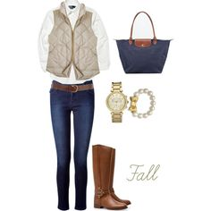 Fall by preppysoutherngal on Polyvore featuring Polo Ralph Lauren, J.Crew, Vanessa Bruno Athé, Longchamp, Michael Kors, Kate Spade, Warehouse and Tory Burch