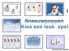 In deze digibordles kunnen de kinderen spelletjes spelen rond het thema: sneeuwpoppen. Aan de orde komen de taalbegrippen: grootste - kleinste - meeste minste - dikste - dunste - eerste - tweede etc. De kinderen maken kennis met een thermometer: op welke thermometer is het het warmst, ze zoeken de andere helft van de sneeuwpop op. Ook is er een spel bij waar ze goed moeten kijken wat er ontbreekt bij de sneeuwpop en kunnen ze tellen hoeveel knoopjes op de buik van de sneeuwpop zit etc. Frozen, Noel Christmas, Play To Learn, Winter Theme, Art For Kids, Snowman, Gallery Wall, Creative, Projects