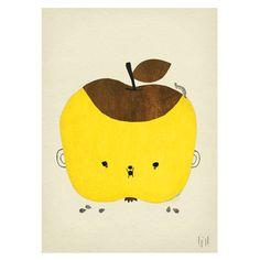 Poster APPLE PAPPLE Süßes Poster mit lachendem Apfel fürs Kinderzimmer
