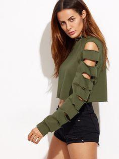 Army Green Ladder Cut Out Sleeve Raw Hem Sweatshirt Mobile Site