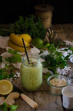 Sabores y Momentos   Batido verde para desayuno sano {Green Smoothie}   http://saboresymomentos.es