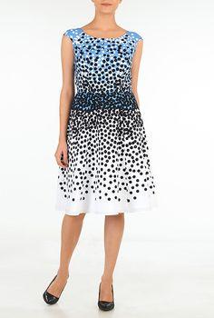I <3 this Graduated polka dot print crepe dress from eShakti