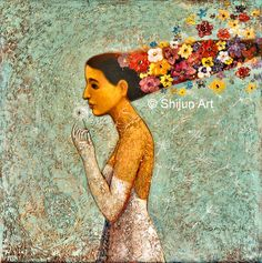 """Blessed Season"" on canvas Shijun Munns Spiritual Garden, Fine Art Gallery, Oil On Canvas, Original Art, Seasons, Wall Art, Disney Princess, Disney Characters, Spring"