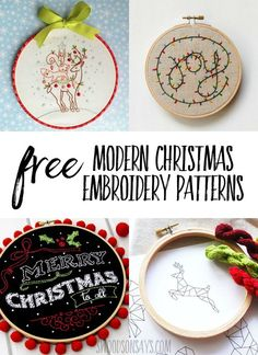 Vintage Embroidery Designs Free modern Christmas embroidery patterns - Look at these modern, cute Christmas hand embroidery patterns to stitch! Includes a list of free Christmas hand embroidery patterns. Hand Embroidery Patterns Free, Christmas Embroidery Patterns, Hand Embroidery Stitches, Embroidery Techniques, Cross Stitch Embroidery, Embroidery Ideas, Embroidery Sampler, Machine Embroidery, Doily Patterns