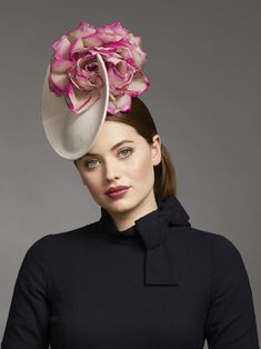 Juliette Millinery Cashmere Flower Percher Topped the outfit with striking disc percher hat from Juliette Millinery. Cashmere covered base, trimmed with a two toned large silk flower and back bow detail. Facinator Hats, Fascinators, Cashmere Hat, Millinery Hats, Cocktail Hat, Fancy Hats, Flower Hats, Wedding Hats, Outfits With Hats