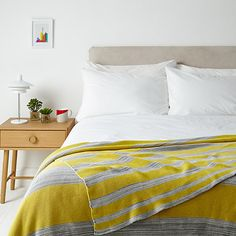 Buy House by John Lewis Stripe Throw, Yellow/Grey Online at johnlewis.com