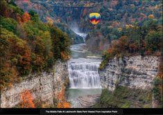 Middle Falls At Letchworth State Park. The Middle Falls At Letchworth State Park , Air Balloon Rides, Hot Air Balloon, Air Ballon, Chutes Victoria, Voyage Usa, Letchworth State Park, Les Cascades, All Nature, Autumn Nature