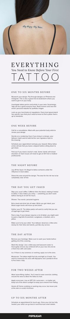 Thinking about getting your first tattoo? Any ink enthusiast will tell you that there are a lot of rules to consider — it's not something you do on a whim. Getting the exact artwork you want is a process that starts long before you arrive at the parlor. So we've created this comprehensive calendar. It includes everything you need to know: tips for finding the right artist, safety measures to follow, and aftercare instructions.: #MusicTattooIdeas
