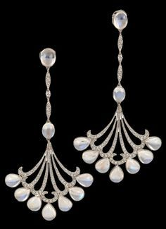 Platinum Moonstone & Diamond Earrings