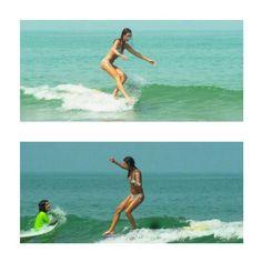 elegant surfer. Justine Mauvin in Biarritz.