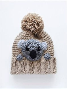 Knit winter hat and scarf set with pom poms. There is a cute crochet gray koala applique sewn onto hat. Hat size- child up to teens ( 19-22, 49-55cm) Scarf size- 6 (15cm) wide and 43 (110cm) tall Choose your color using drop down menu. Available colors: *White *Blue *Light Brown(featured)