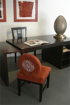 Moroccan Office Furniture. Beautiful Hand Chiseled Egg shaped brass lamp. Hand embroidered chair.