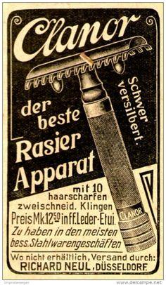 Original-Werbung/ Anzeige 1910 - CLANOR RASIER - APPARAT / NEUL - DÜSSELDORF - ca. 45 x 75 mm