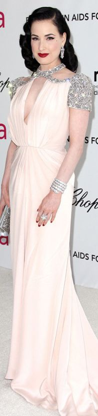 Dita Von Teese in Jenny Packham dress