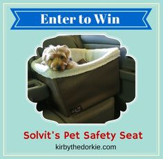 I just entered to win Solvit's Pet Safety Seat from Kirby the Dorkie and Solvit Pets and you can too!