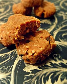 Healthier no-bake peanut-butter cookies! vegan, gluten-free, grain-free! If you can't have peanuts substitute almond butter or pumpkinseed butter.