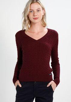 Vêtements Superdry LUXE VEE MINI CABLE - Pullover - port marl rouge foncé: 56,00 € chez Zalando (au 13/10/17). Livraison et retours gratuits et service client gratuit au 0800 915 207.