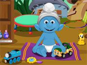 Free Online Girl Games, This little baby Smurf got all dirty while playing and now he needs a bath!  In Smurfs Baby Bathing you'll have to both wash the young Smurf and also keep him occupied with toys so he doesn't get upset!, #smurf #cartoon #baby #babysitting