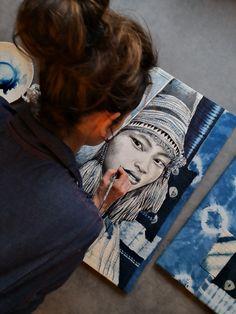 """Basam"" - Work in progress Creative Skills, Creative Art, Woman Drawing, Drawing Women, Ledoux, Coin Art, French Artists, Beautiful Paintings, Art Inspo"