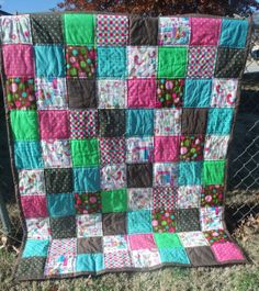 Large Baby or Toddler Girl Quilt by LaundryRoomQuilts on Etsy, $80.00