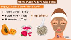 Applying fuller's earth and rose water face pack can instantly bring a natural glow to your skin since fuller's earth can show the immediate results. Papaya Face Pack, Papaya Facial, Clear Skin Face, Face Skin Care, Multani Mitti Face Pack, Natural Face Pack, Rose Water Face, Aloe Vera For Face, Fullers Earth