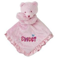 "Gerber ""Sweet"" Pink Bear Plush Satin Security Blanket Lovey Baby Girl Gift NWT"