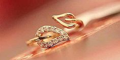 * Penny Deals * - Lovely gift Fashion Womens Gold Plated Crystal Rhinestone Leaf Finger Ring Chic Jewelry SI 1pc Gold >>> Click on the image for additional details.
