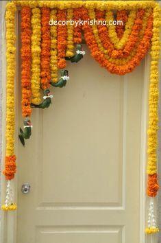 Door Flower Decoration, Diwali Decoration Lights, Ganpati Decoration Design, Diya Decoration Ideas, Diwali Decorations At Home, Home Wedding Decorations, Backdrop Decorations, Festival Decorations, Flower Decorations