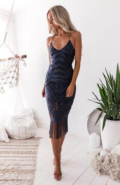 Khaleesi Dress - Steele Blue | Irresistible choice for a bridesmaid dress! Shop Nouveau Riche Boutique #specialoccasiondress #bridesmaiddresses #lacedresses