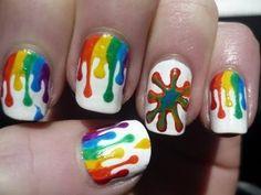 Dripping Paint Nail Art #colorfulnails #nails #nailart #drippingnails - bellashoot.com #rainbow