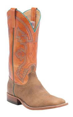 Anderson Bean® Men's Distressed American Tan Bison with Tangerine Top Double Welt Square Toe Cowboy Boots