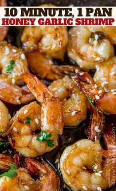 Easy Honey Garlic Shrimp made in one skillet with just five ingredients in just . Easy Honey Garlic Shrimp made in one skillet with just five ingredients in just 10 minutes, this dish will replace your favorite Chinese takeout restaurant! Shrimp Recipes Easy, Fish Recipes, Seafood Recipes, Dinner Recipes, Cooking Recipes, Healthy Recipes, Takeout Restaurant, Honey Shrimp, Sauteed Shrimp