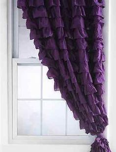NWOT NEW URBAN OUTFITTERS PLUM & BOW PURPLE WATERFALL RUFFLE CURTAIN PANEL