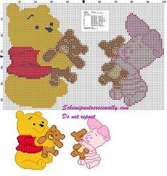 Winnie the Pooh e Pimpi con orsetti schema punto croce