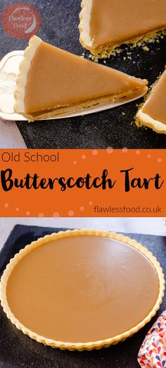 Who remembers this delicious Old School Butterscotch tart? I have fond memories of this fantastic rich sticky, butterscotch tart. Usually served up with whipped cream or custard in the school canteen Mini Desserts, Grilled Desserts, Easy Desserts, Delicious Desserts, Plated Desserts, Tasty Dessert Recipes, Cheesecake Recipes, Old School Desserts, Custard Desserts