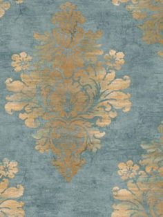 Blue and Brown Syracuse Damask Wallpaper, SBK24961